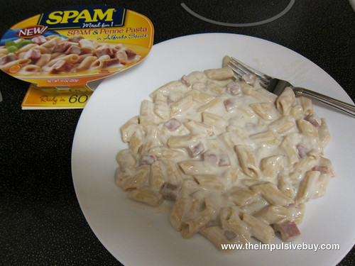 SPAM Meal for 1 SPAM & Penne Pasta in Alfredo Sauce Closerup