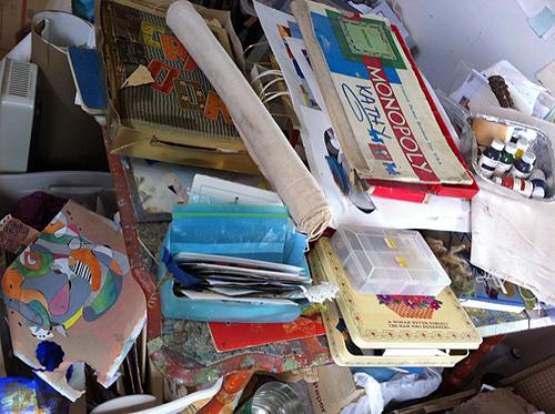 Pile of stuff on table