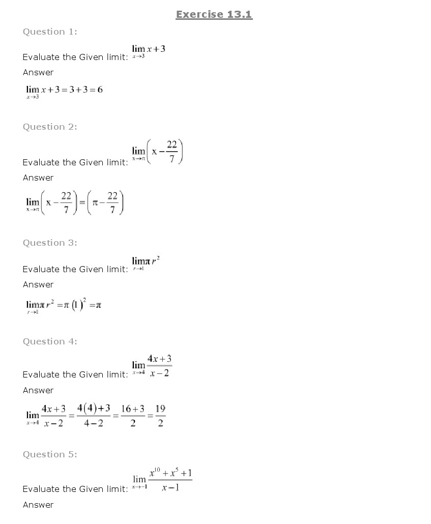 Chapter 13 – Limits and Derivatives