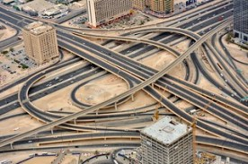United Arab Emirates (UAE), Dubai, Traffic Intersection seen from Burj Khalifa