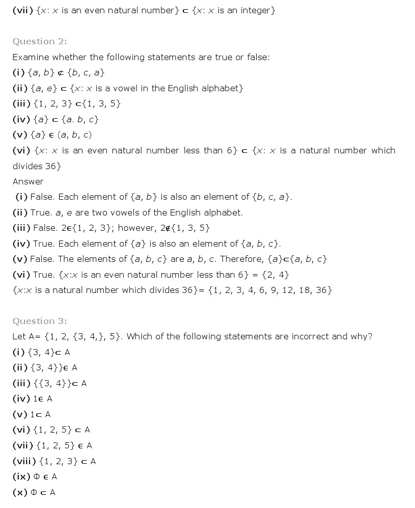 NCERT Solutions for Class 11th Maths Chapter 1 - Sets