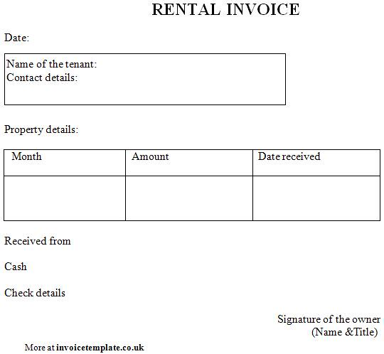 sample rent invoice template - rent statements template