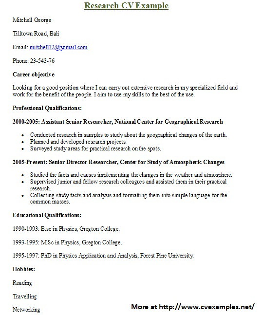 Research CV Examples For more Research CV examples visit \u2026 Flickr
