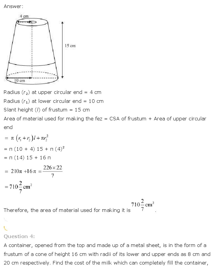 NCERT Solutions for Class 10th Maths: Chapter 13   Surface Areas and Volumes