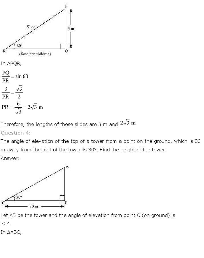 NCERT Solutions for Class 10th Maths: Chapter 9   Some Applications of Trigonometry Image by AglaSem