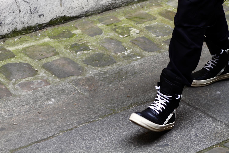 2012_06 Tuukka Laurila Paris Mens Fashion Week Street Style - Rick Owens High Top Sneakers on Granite2