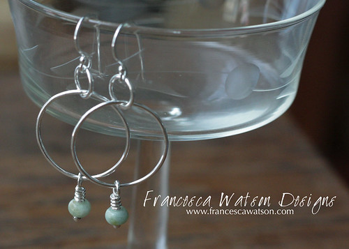 Fine Silver Hoops with Aquamarine Dangles by Francesca Watson Designs