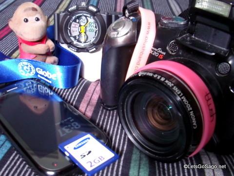Travel Gadgets (Camera, Samsung SD Card, Avon Wrist Watch, Phone & Sago)