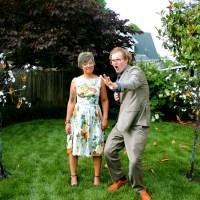 Danni & Zach's intimate backyard burlap-covered wedding