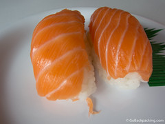 Salmon nigiri at Sushi Train
