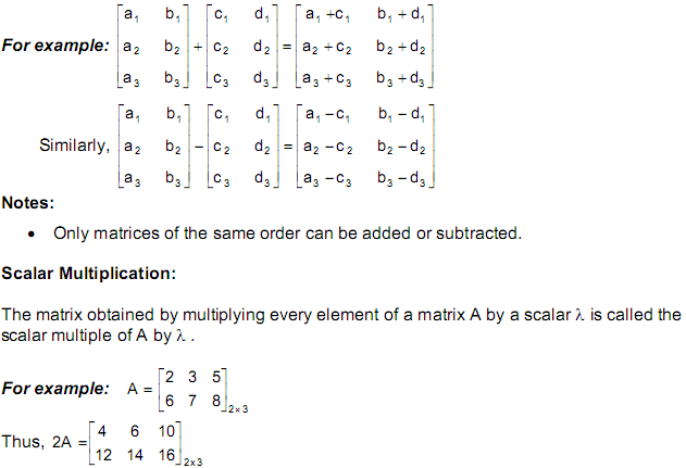 CBSE Class 12 Maths Notes: Matrices   Algebra of Matrices  Image by AglaSem