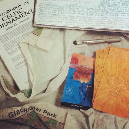 An awesome snowy morning means tarot, journaling, and drawing in bed!