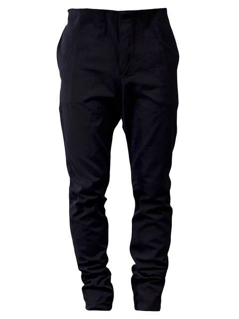 A1923  $1719.00       STYLE NO. AW12:13 P017 NERO   From Adiciannoveventitre, a slight dropped cotton selvedge slim leg trouser
