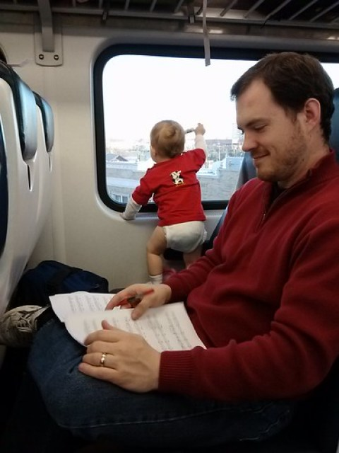 playing on the train