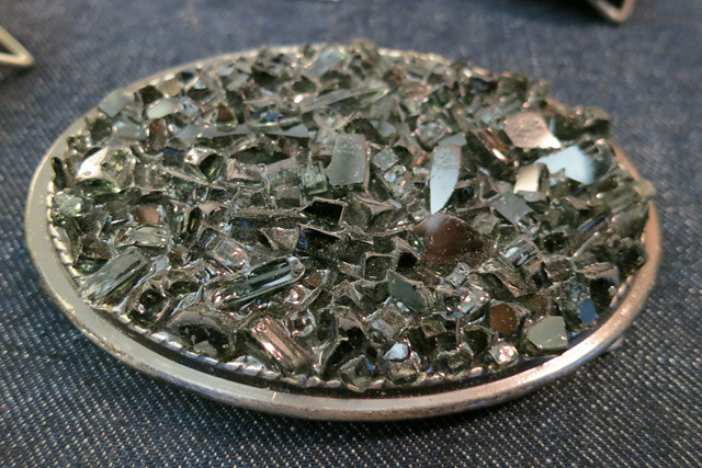 Belt Buckles Made With Broken Glass From Smashed Car Windows