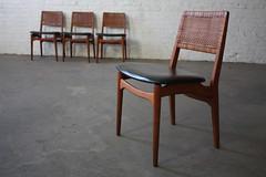 ***SNEAK PEEK*** Intricate Danish Mid Century Modern Caned Back Teak Dining Chairs (Denmark, 1960's)