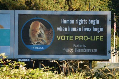 "Our latest billboard is up and running in Washington state for thousands of commuters to reflect on this election season. ""Human rights begin when human lives begin"" - Father Frank Pavone"