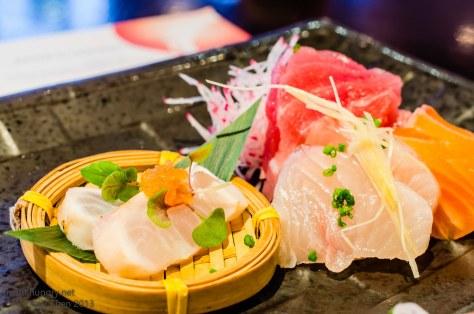 Ocean Room Raita's sashimi collection - chef's daily - Tuna, Salmon, Kingfish, Flathead