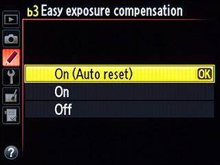 Nikon D600 easy exposure compensation menu custom setting screenshot