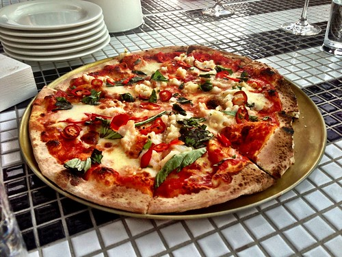 Prawns, chilli, bocconcini, basil woodfired pizza