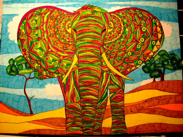 Cute Elephant Cartoon Wallpapers Psychedelic Elephant Wallpaper