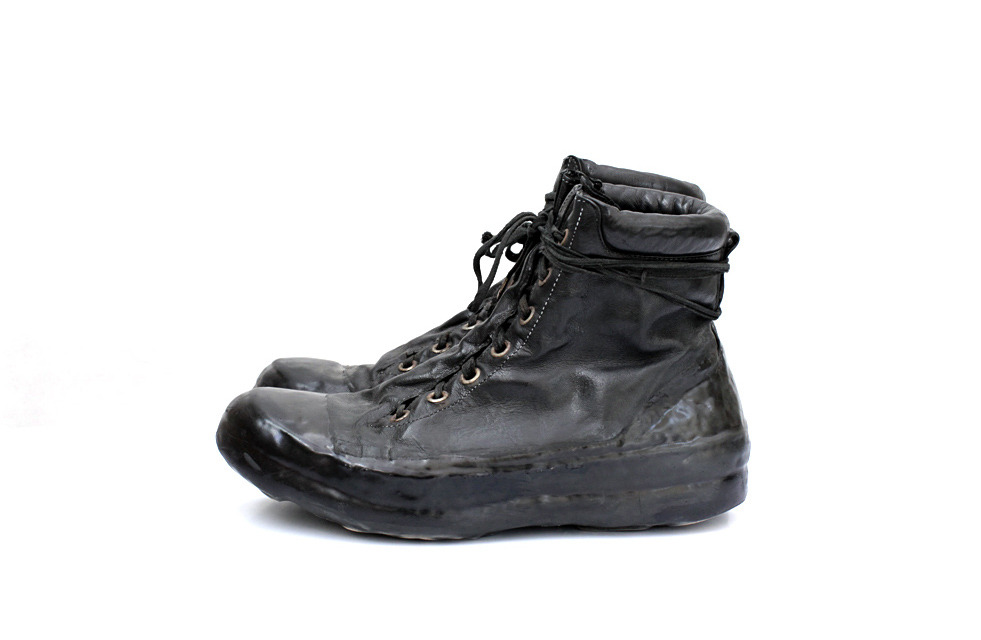 CAROL CHRISTIAN POELL BLACK OBJECT DYED DRIP-RUBBER LEATHER SNEAKER 2