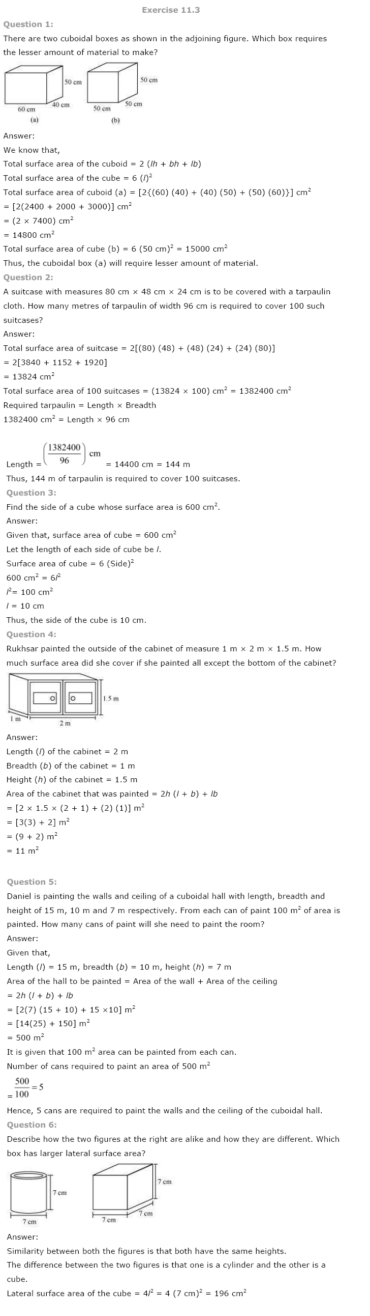 NCERT Solutions for Class 8th Maths Chapter 11 Mensuration
