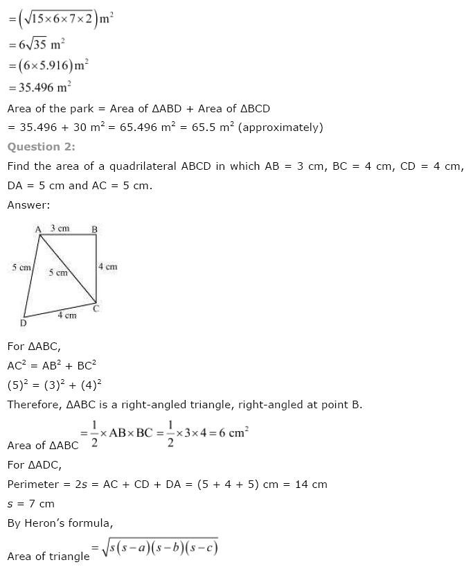 NCERT Solutions for Class 9th Maths: Chapter 12 Herons Formula Image by AglaSem