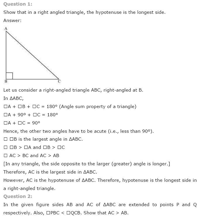 NCERT Solutions for Class 9th Maths Chapter 7 Triangles