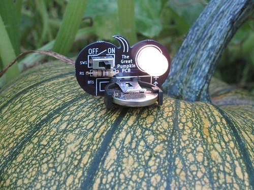 The Great Pumpkin PCB on a pumpkin!