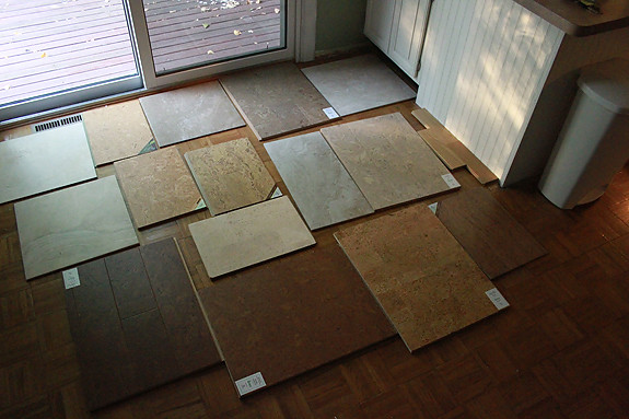 And I m back with two new favorites  One cork  One tile  Both a bit darker  than what I showed you yesterday Kitchen Floor Debate  Part II   Heather Drive. Dark Cork Kitchen Flooring. Home Design Ideas