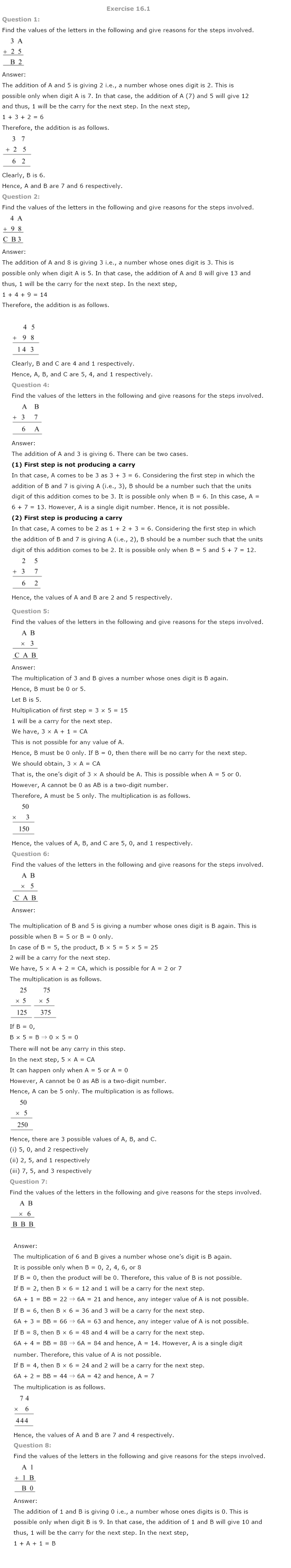 NCERT Solutions for Class 8th Maths Chapter 16 Playing with Numbers