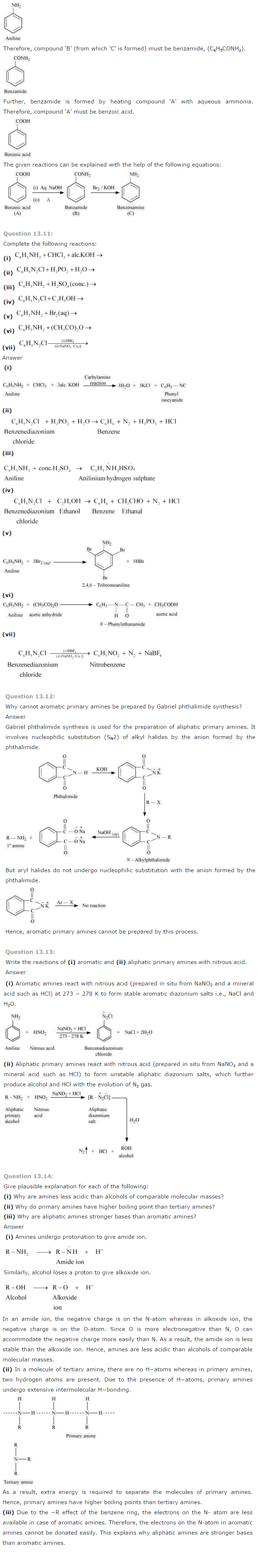 NCERT Solutions for Class 12th Chemistry Chapter 13 Amines Image by AglaSem