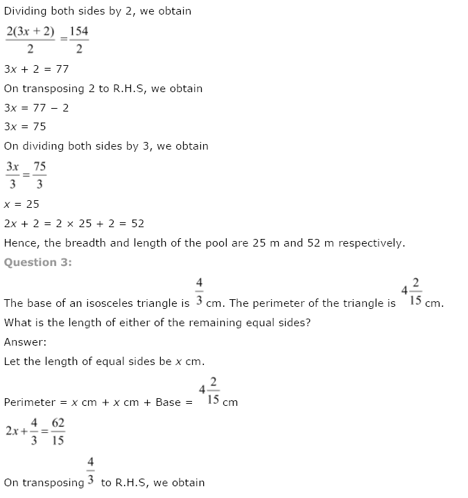 NCERT Solutions for Class 8th Maths Chapter 2 Linear Equations in One Variable Image by AglaSem
