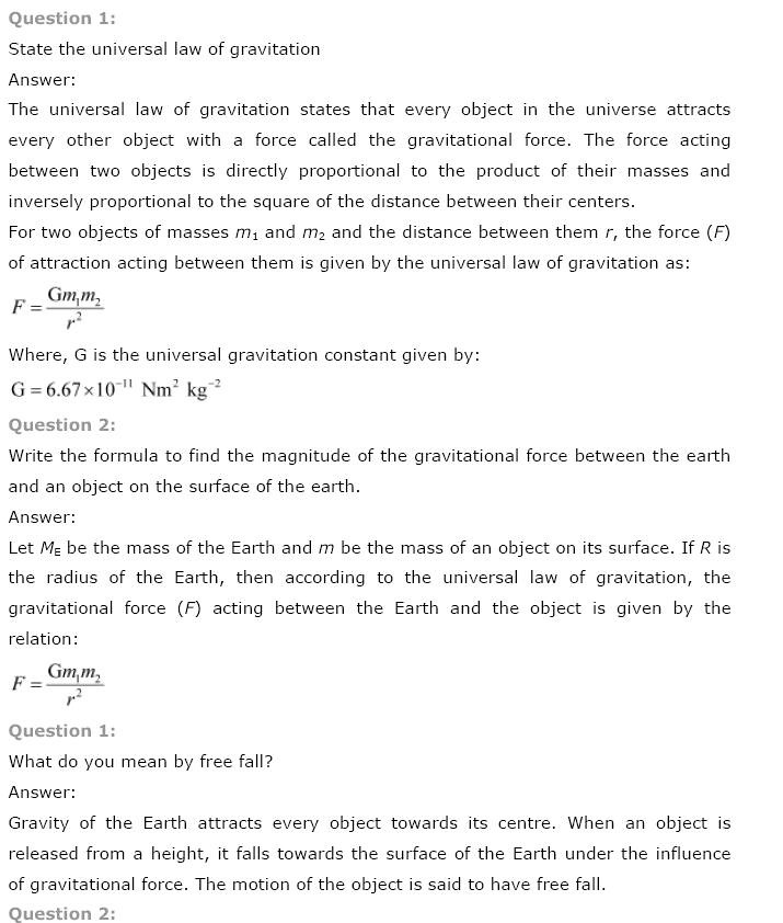 NCERT Solutions for Class 9th Science: Chapter 10 Gravitation, NCERT CBSE Solved Quetion Answers, KEY NOTES, NCERT Revision Notes, Free NCERT Solutions Online