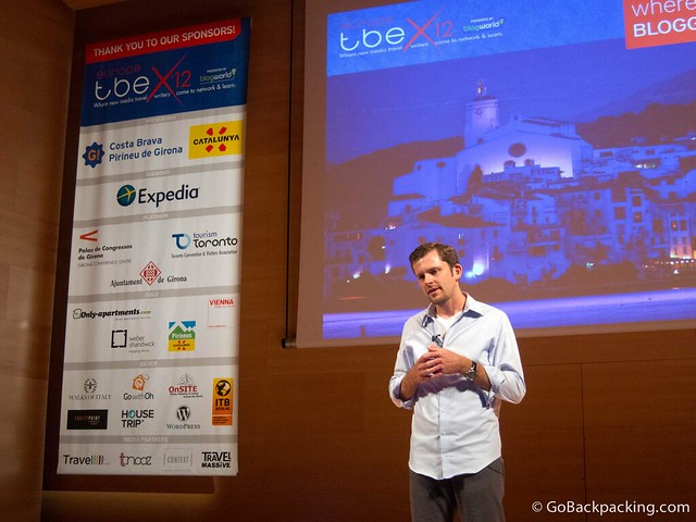 Chris Guillebeau talking at TBEX in Costa Brava