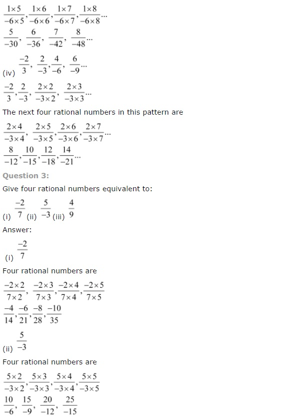 NCERT Solutions for Class 7th Maths Chapter 9   Rational Numbers