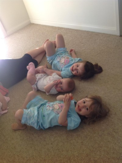"""The girls having """"floor time"""" with my niece"""