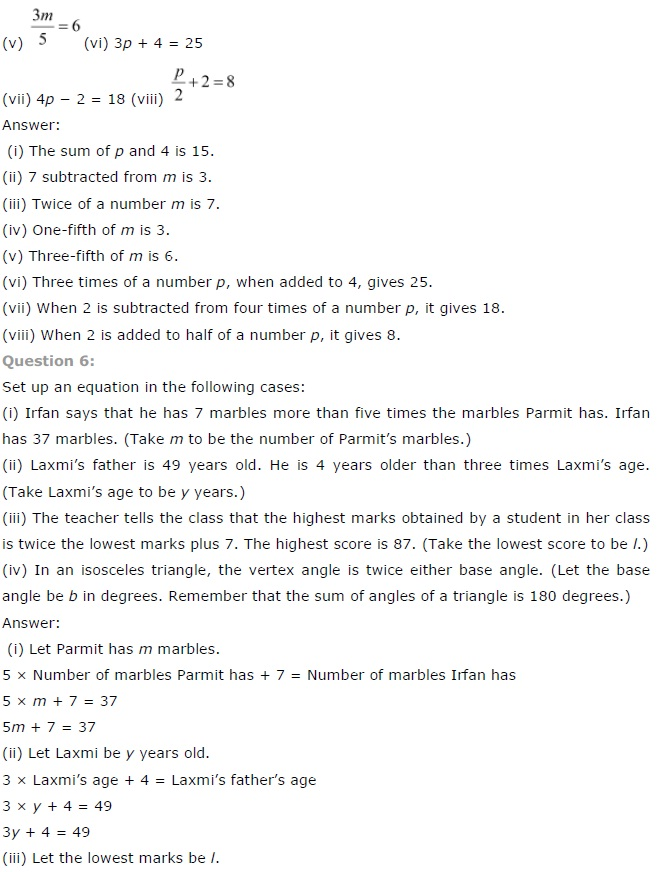 NCERT Solutions for Class 7th Maths Chapter 4   Simple Equations Image by AglaSem