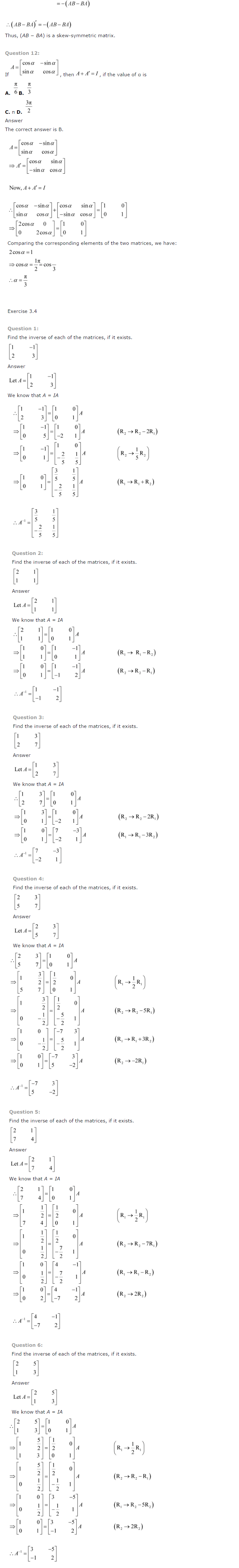 NCERT Solutions for Class 12th Maths Chapter 3   Matrices