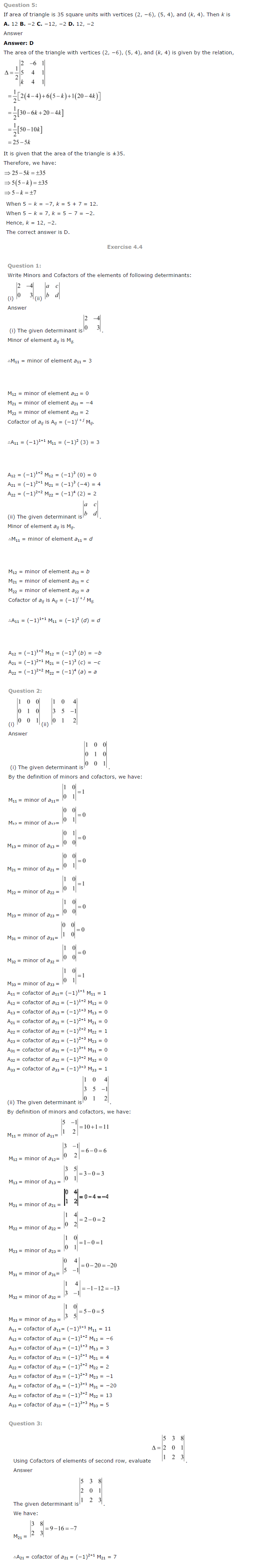 NCERT Solutions for Class 12th Maths Chapter 4   Determinants Image by AglaSem