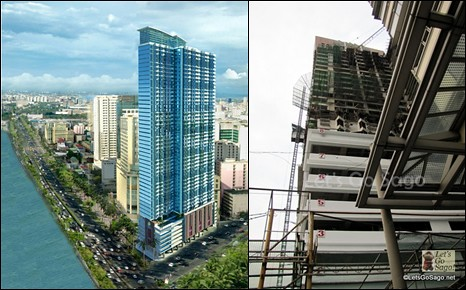 Grand Riviera Suites Illustration (left); Ongoing Construction (right)