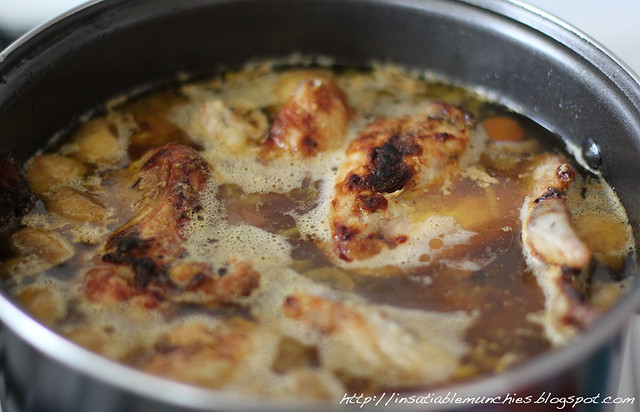 Simmer the chicken stock in a large pot