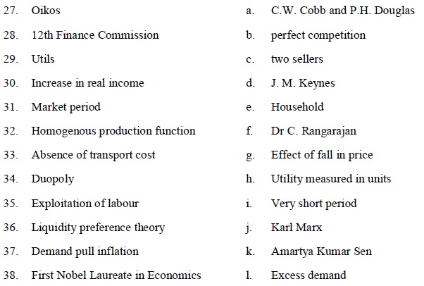 Tamil Nadu State Board Class 12 Model Question Paper   Economics