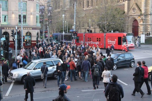 More dimwits blocking the pedestrian crossing outside Flinders Street Station