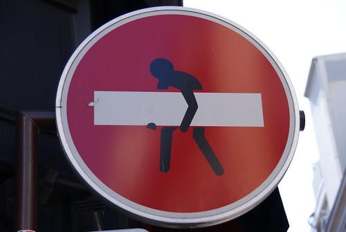 Attention - man stealing white stripe