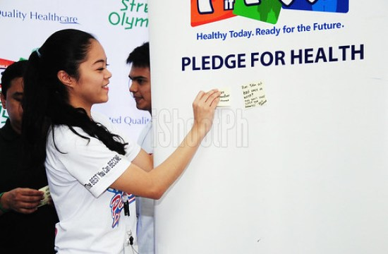 Sachie Yap, from PWU, posted her Pledge for Health sticky note.
