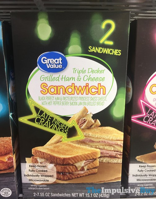 Great Value Late Night Cravings Triple Decker Grilled Ham & Cheese Sandwich