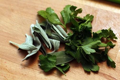 fresh herbs for polenta