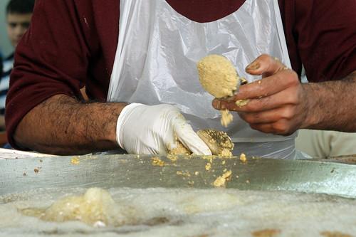 Lebanese falafel making